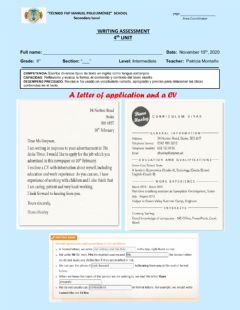 Ficha interactiva A letter of application and a cv