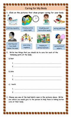 Interactive worksheet Taking Care of the Body