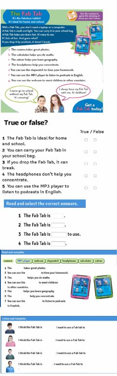 Interactive worksheet The fab TAB TIGER 5 MACMILLAN UNIT 1