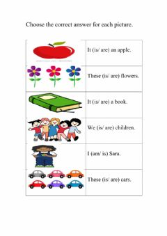 Interactive worksheet Is, am and are