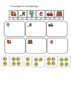 Interactive worksheet Monedes 1 i 2 euros
