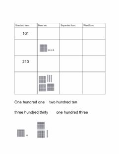 Interactive worksheet Expanded, word, and base ten