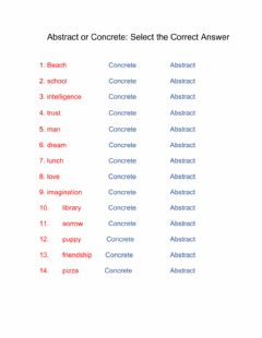 Interactive worksheet Abstract and Concrete Nouns