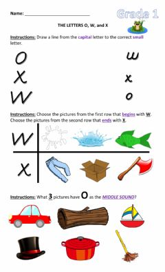 Interactive worksheet Letters O, W and X