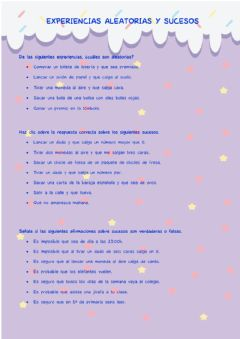 Interactive worksheet Experiencias aleatorias