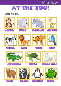 Interactive worksheet At the Zoo!