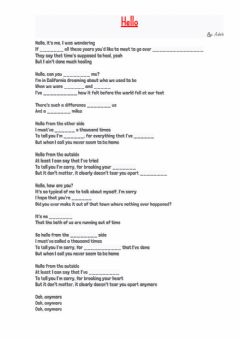 Interactive worksheet Hello by Adele