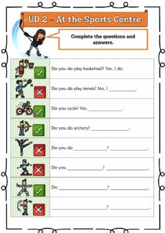 Interactive worksheet 4º UD 2 - At the Sports Centre Ficha 5