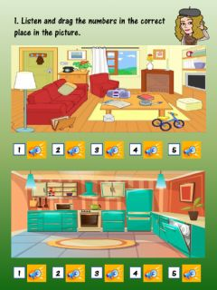 Interactive worksheet Furnitures and prepositions (Listening)