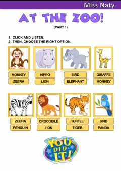 Interactive worksheet At the Zoo! 2