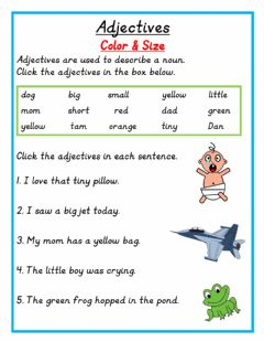 Interactive worksheet Adjectives Color and Size