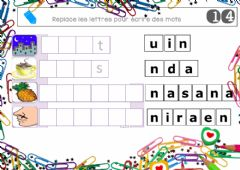 Interactive worksheet Loto lettres mobiles 14