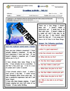 Interactive worksheet Present Perfect Reading