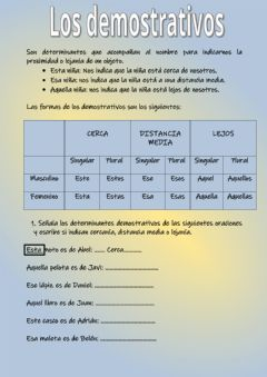 Interactive worksheet Los demostrativos