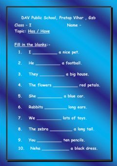 Interactive worksheet English - Has & Have