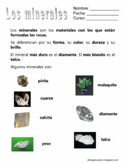 Interactive worksheet Los minerales