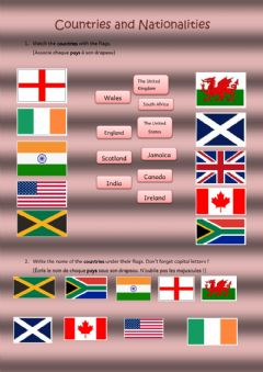Interactive worksheet WS Countries and nationalities-1  6eme - Quinet