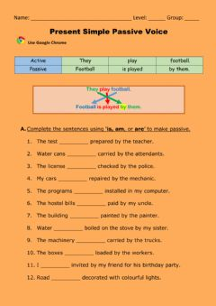 Interactive worksheet Passive Present simple
