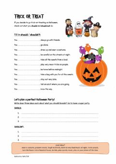 Interactive worksheet Halloween should & shouldn't's