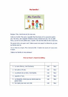 Interactive worksheet Ma famille