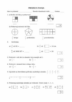 Interactive worksheet Ulomki