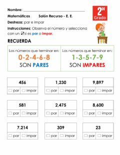 Interactive worksheet Par e impar