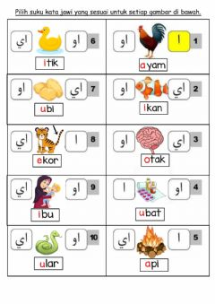 Interactive worksheet Vokal Jawi