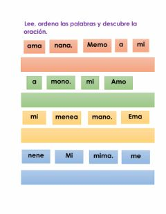 Interactive worksheet Ordenas palabras y descubrir oraciones