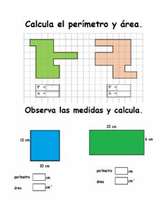 Interactive worksheet Tarea de perímetro y área 4to
