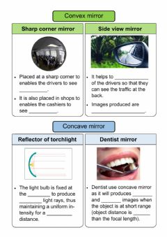 Ficha interactiva Applications of convex mirrors and concave mirrors