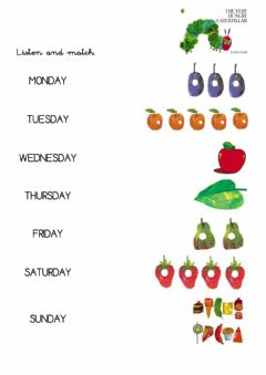 Interactive worksheet The very hungry caterpillar. Matching