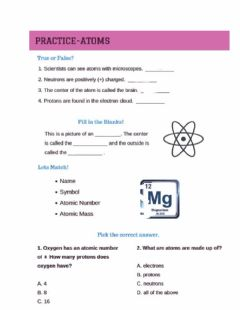 Interactive worksheet Structure of atoms