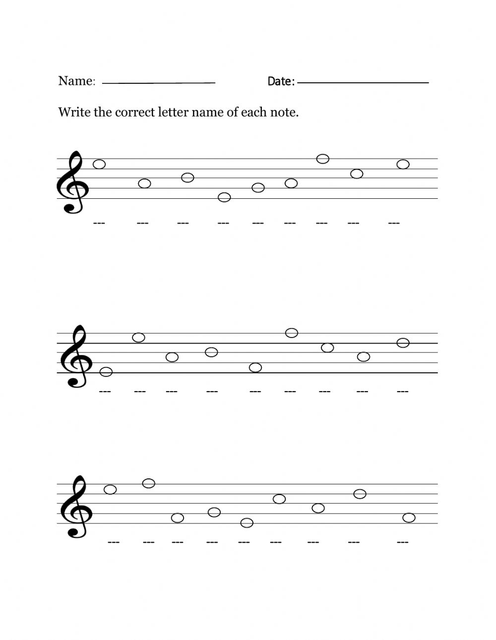 CPS Grades 23-23 Treble Clef Line and Space Notes worksheet Inside Treble Clef Notes Worksheet