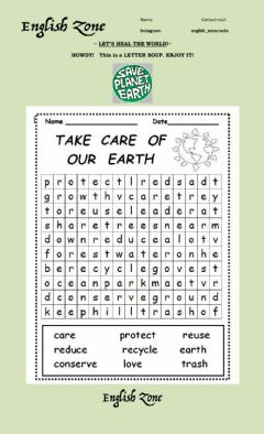 Ficha interactiva Let's save the planet earth, wordsearch
