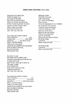 Interactive worksheet Song: When I was your man