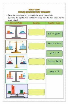 Interactive worksheet Daily Test Linear Equation One Variable