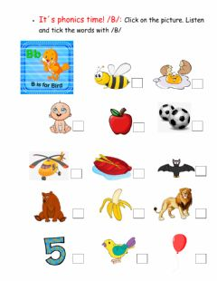 Interactive worksheet It-s phonics time - sound -B-
