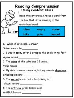 Interactive worksheet Using Context Clues