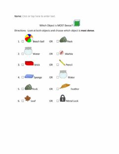 Interactive worksheet Which Object is Most Dense w visuals
