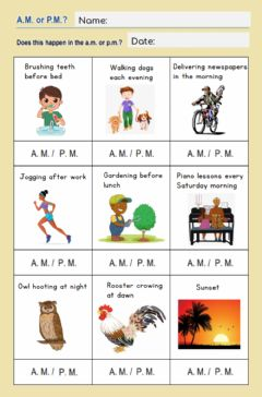 Interactive worksheet When?: A.M or P.M.