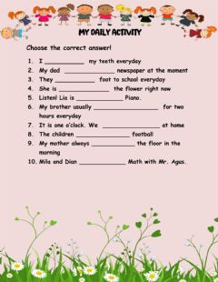 Interactive worksheet My daily activity