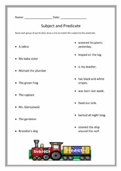 Interactive worksheet Subject and Predicate