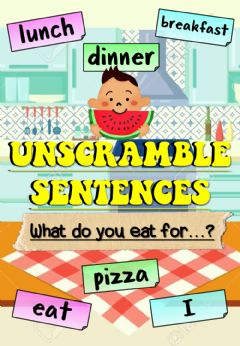 Interactive worksheet What do you eat for..? (Unscramble sentences)