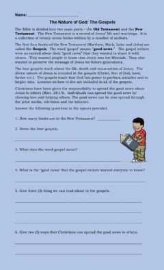 Interactive worksheet The Nature of God Part 3