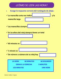 Interactive worksheet El reloj