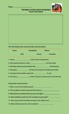 Interactive worksheet The Nature of God Part 1