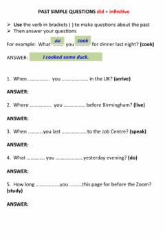 Interactive worksheet Ask questions with the past simple