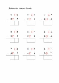 Interactive worksheet Restas con llevada 2