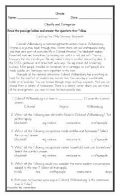 Interactive worksheet Classification Comprehension