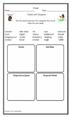 Interactive worksheet Classify These